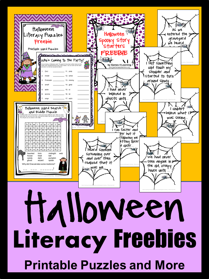 freebies for halloween halloween word puzzles halloween spooky story starters