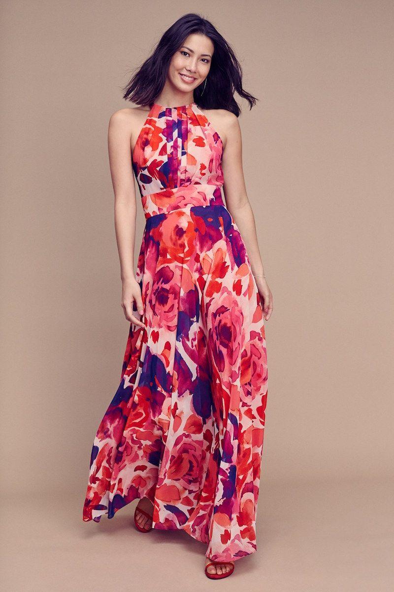 Eliza j floral print halter maxi dress favor stylewomen