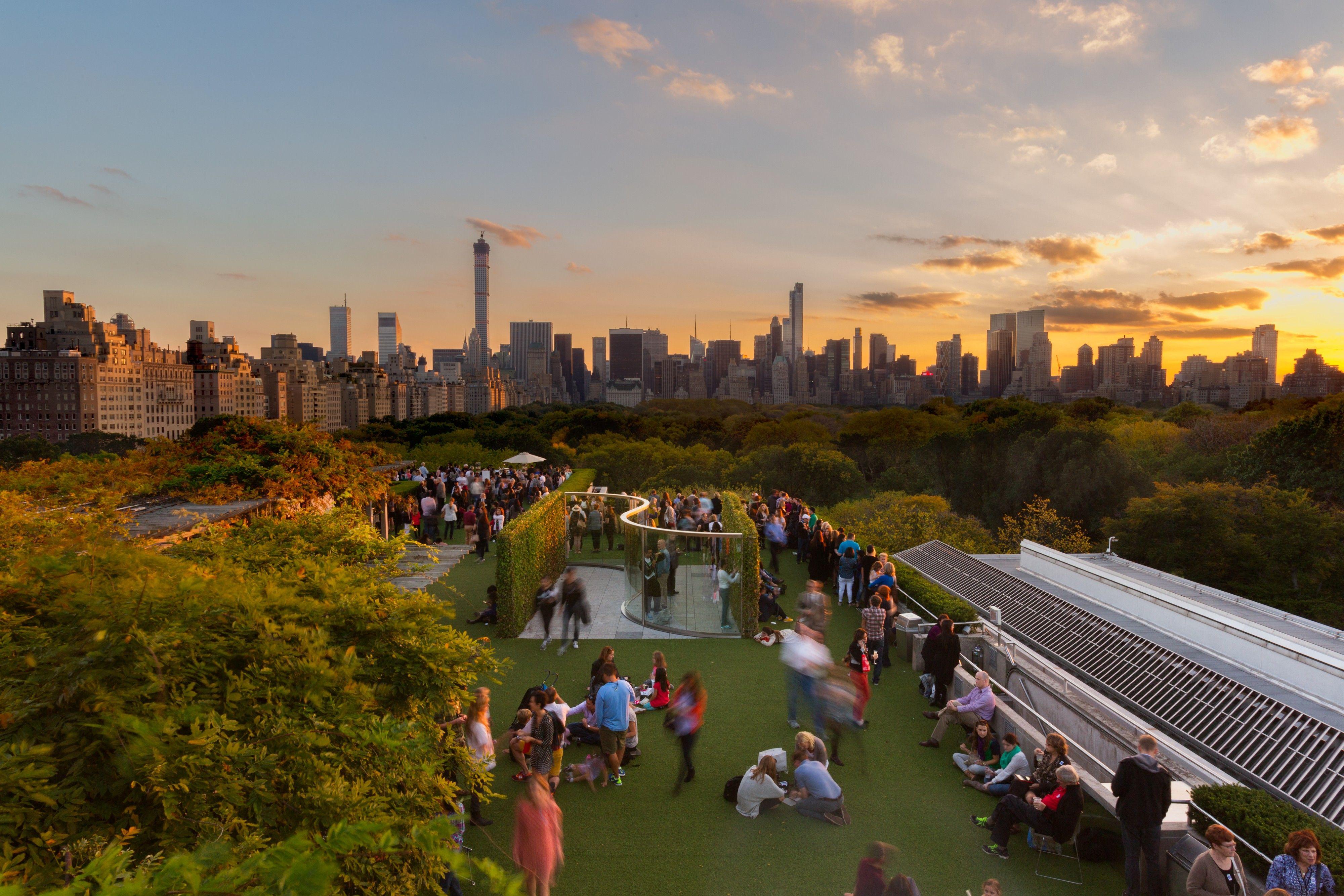 Metropolitan Museum of Art roof at sunset