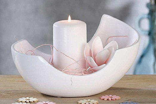 Dekoschale shiny schale keramik wei 17x26x14 cm ostern for Dekoration wohnung amazon