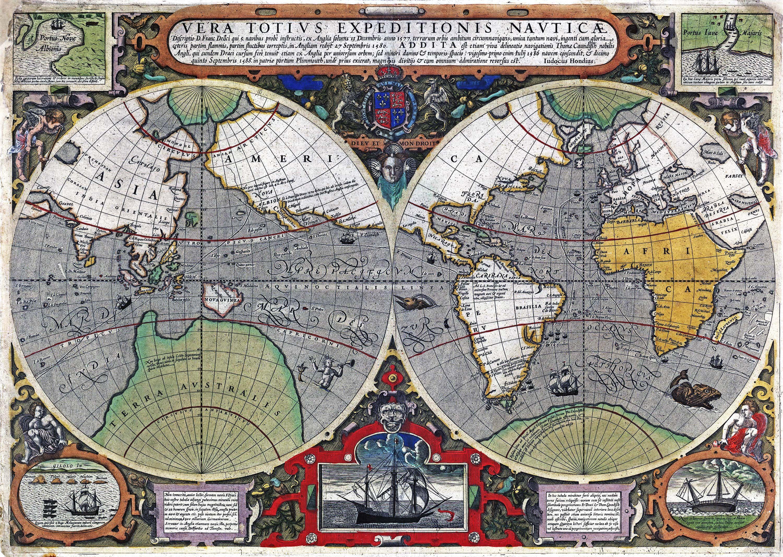 World 1595 Wall Map Mural By Iudocus Hondius