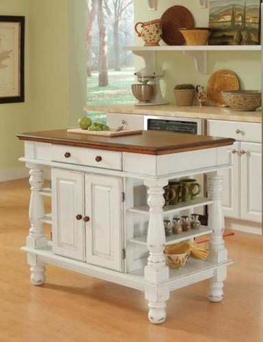 """42"""" Americana Antiqued White Kitchen Island with ..."""