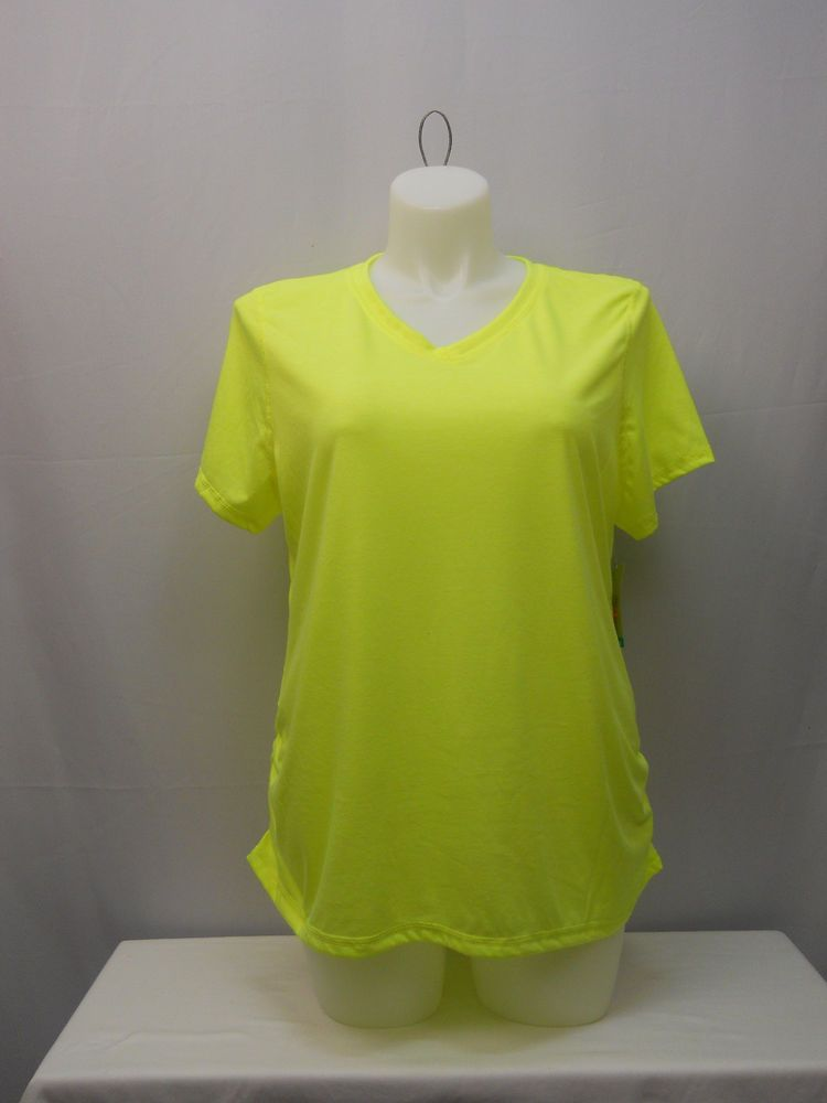 71388a854c311 Danskin Womens Athletic Knit Top Plus Size 1X Solid Yellow Short Sleeve  Pullover  Danskin  ShirtsTops