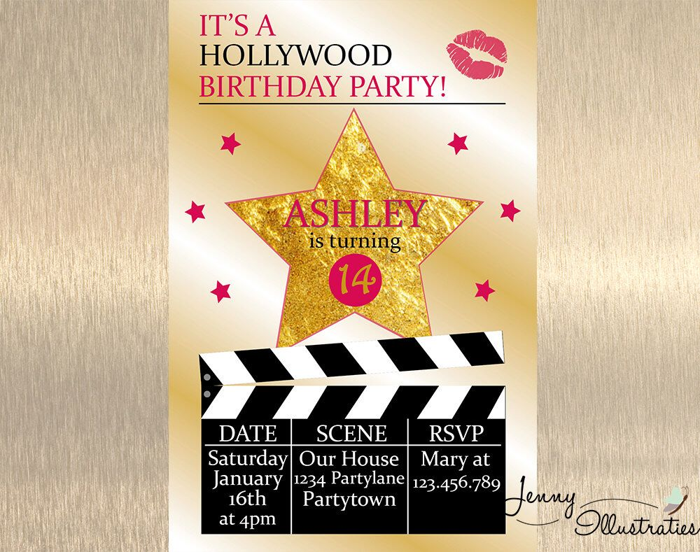 Hollywood Birthday Invitation , Hollywood Party , Movie Birthday ...