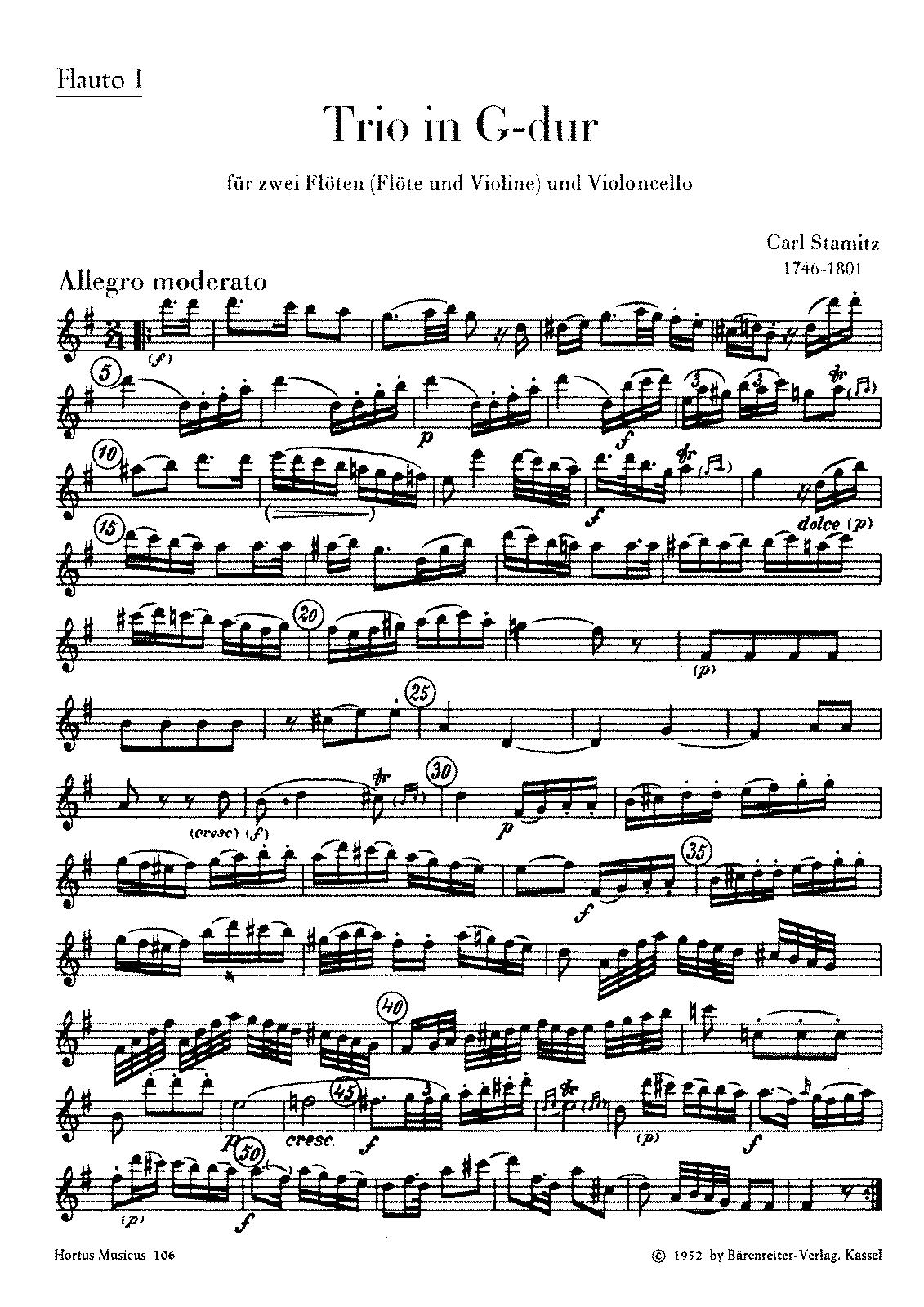 Trio in G major for 2 Flutes and Cello (Stamitz, Carl Philipp