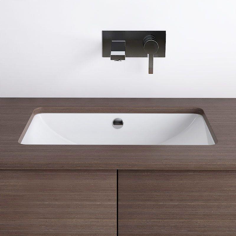 Vasque à encastrer par dessous rectangulaire 59 x 39 cm, céramique ...