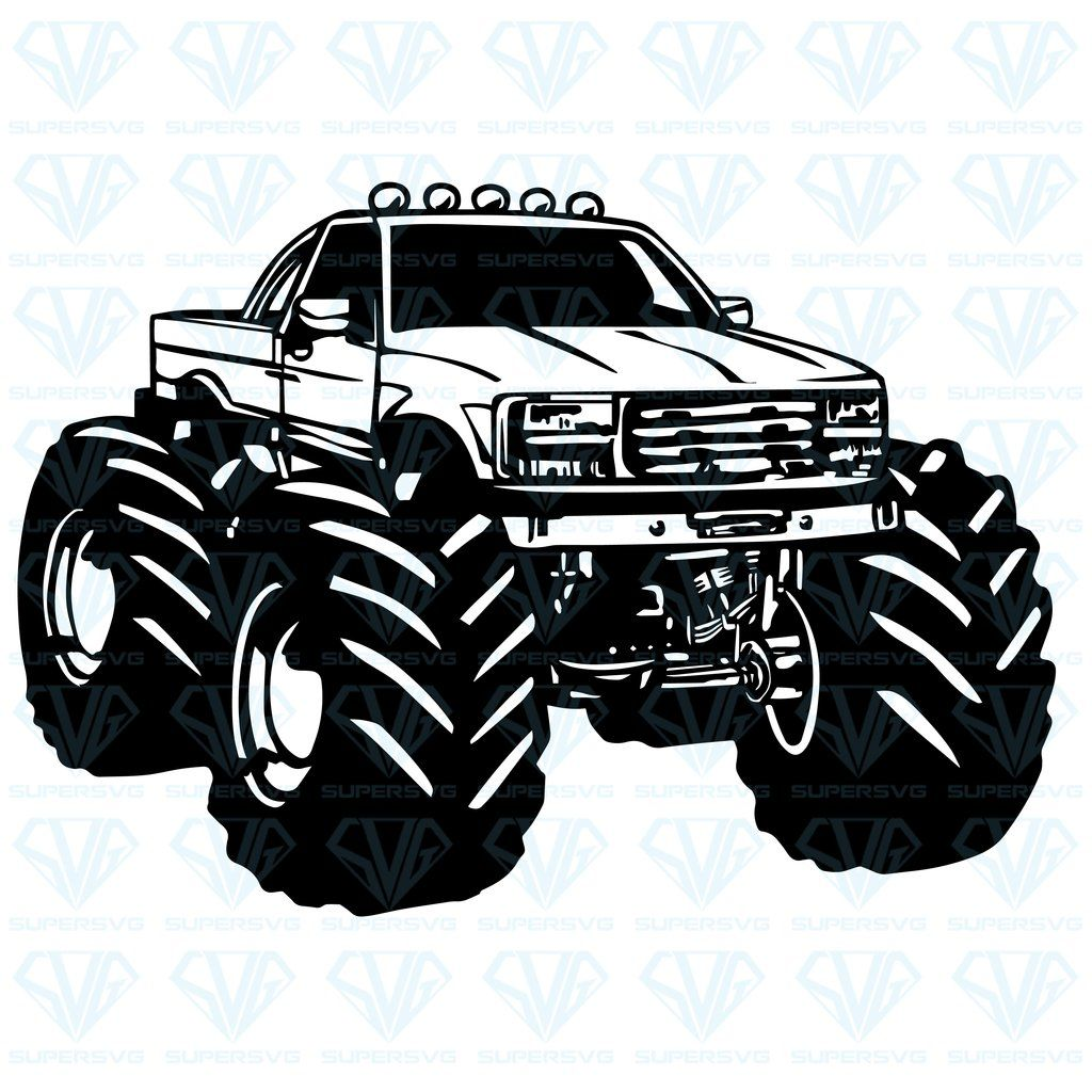 Cartoon Monster Truck Vector Svg Files For Silhouette Files For Cricut Svg Dxf Eps Png Instant Download Supersvg Monster Trucks Big Monster Trucks Trucks Print