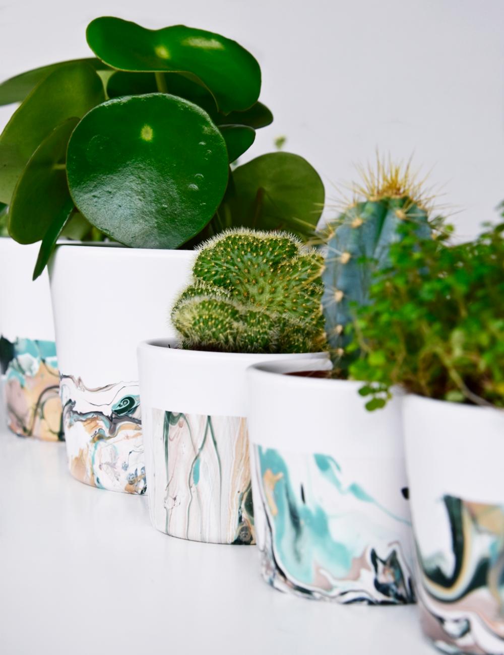Marmorieren mit Nagellack – ein stylisches Blumentopf DIY