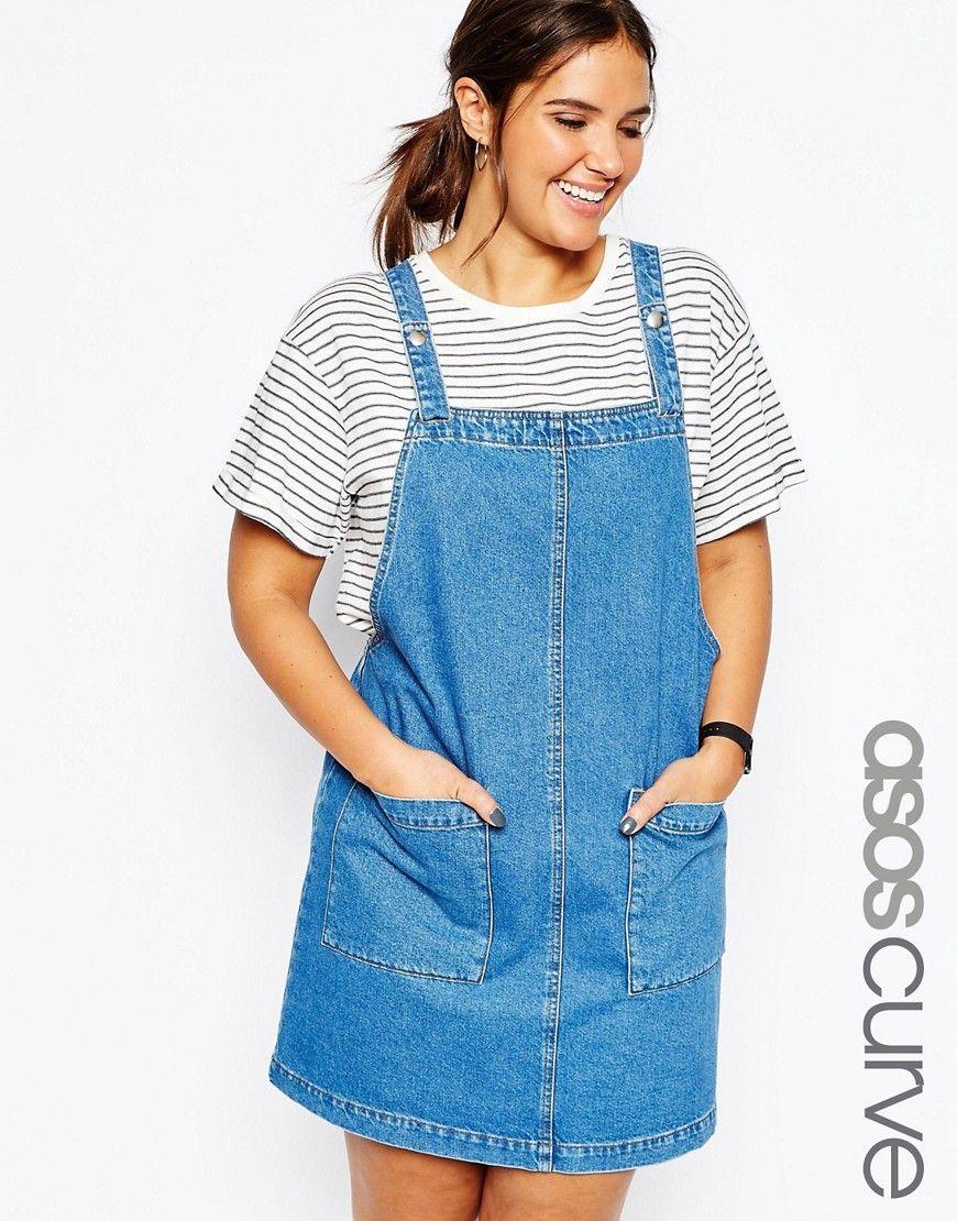 ASOS+CURVE+Denim+Mini+Pinafore+Dress+In+Blue | Things I want ...