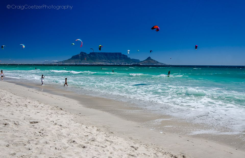 Blouberg Strand in Cape Town on a beautiful day, you can see Table Mountain in the background.