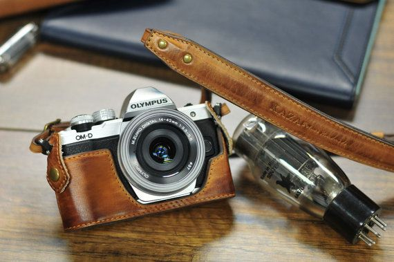 Cow leather case for Olympus O-MD E-M10 mark ii mark 2