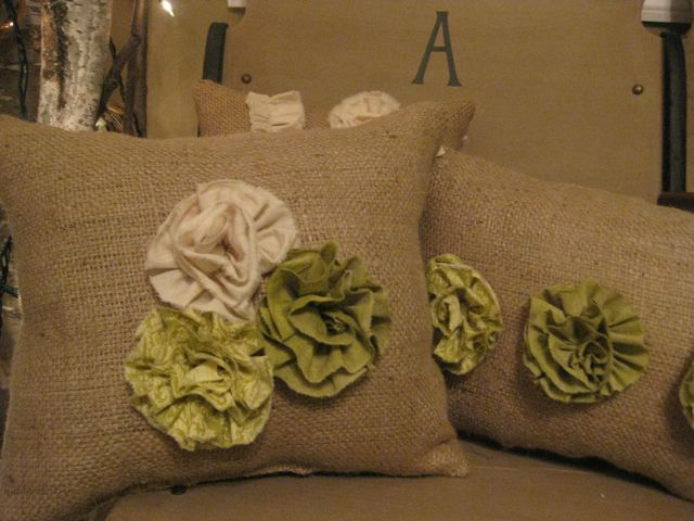 Ruffle Flower Burlap PIllows