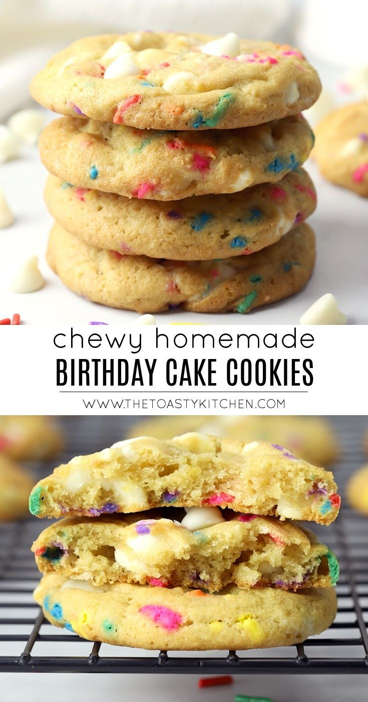 Birthday Cake Cookies by The Toasty Kitchen #birthdaycakecookies #birthdaycake #birthday #funfetti #sprinklecookies #cookies #birthdaycookies #cookierecipe #sprinkles #rainbow