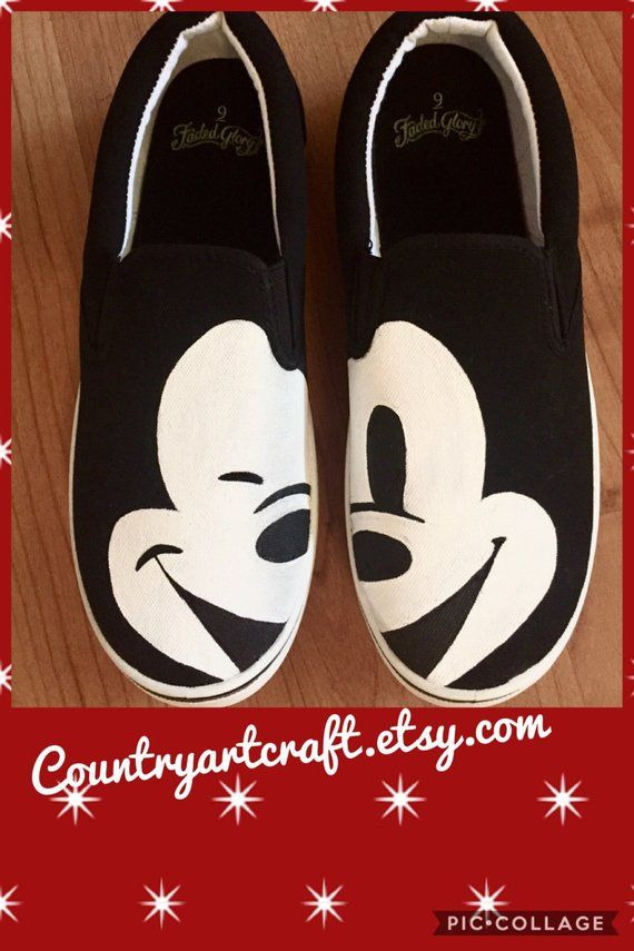 ce354ddd0cc67 Mickey face painted canvas shoes   Products in 2019   Painted canvas ...