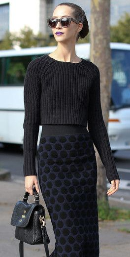 again the classic black! notice the detail on the skirt and the cropped sweater! chic and cool