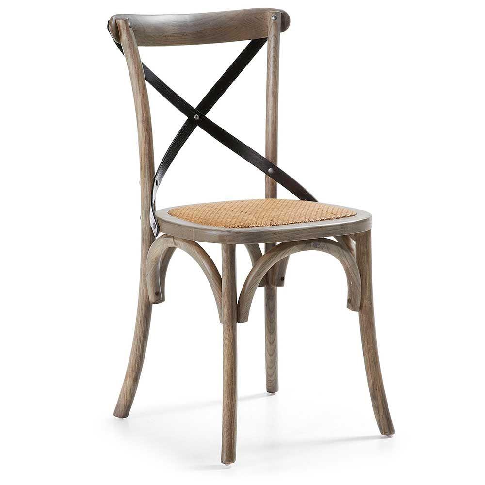 Holzstuhl 2 Stühle aus Ulme Massivholz Lackiert (2er Set) Jetzt ...