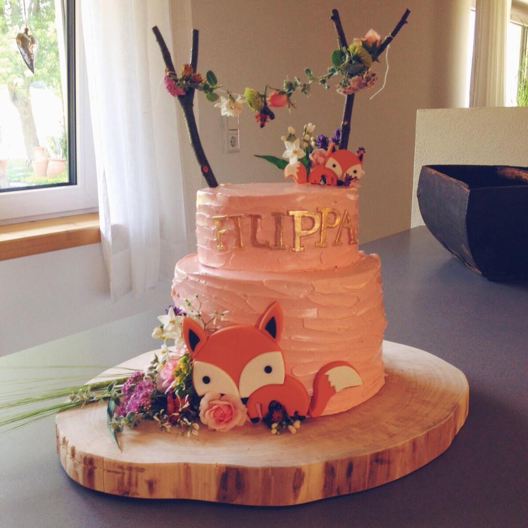 Girly Fox Baby Shower Cake Topper