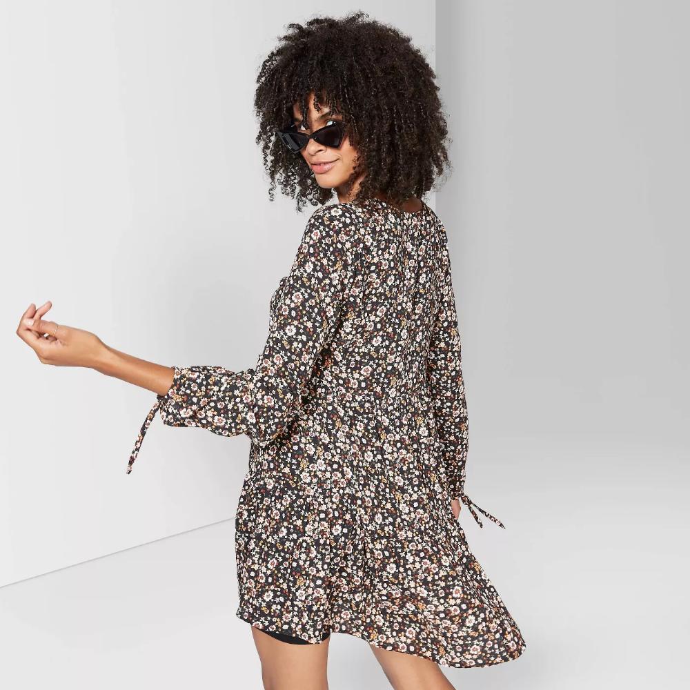 Women S Floral Print Long Sleeve Round Neck Tiered Babydoll Mini Dress Wild Fable Black Target Moda Ropa Moda De Ropa [ 1000 x 1000 Pixel ]