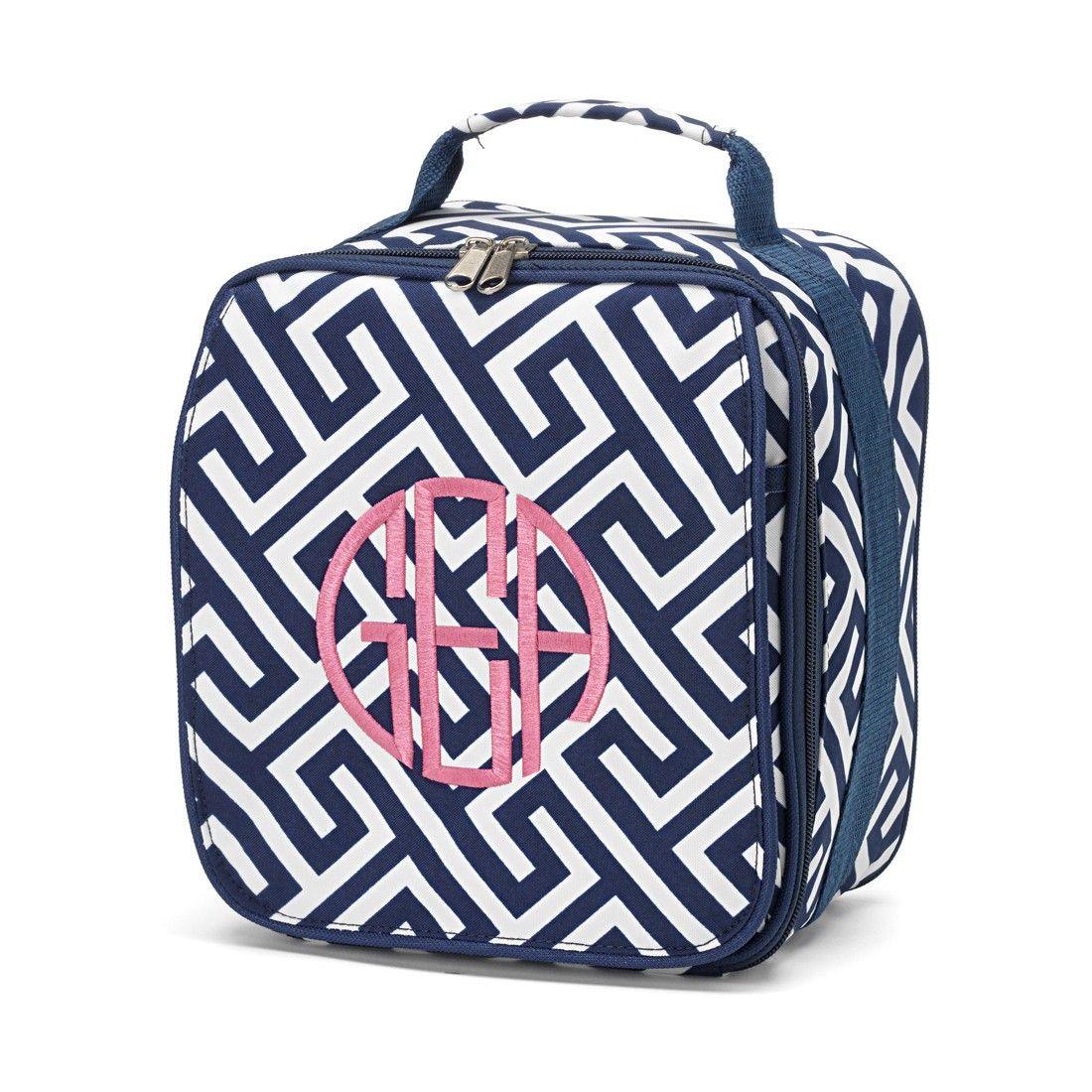 WB Products // Navy Greek Key Lunch Bag