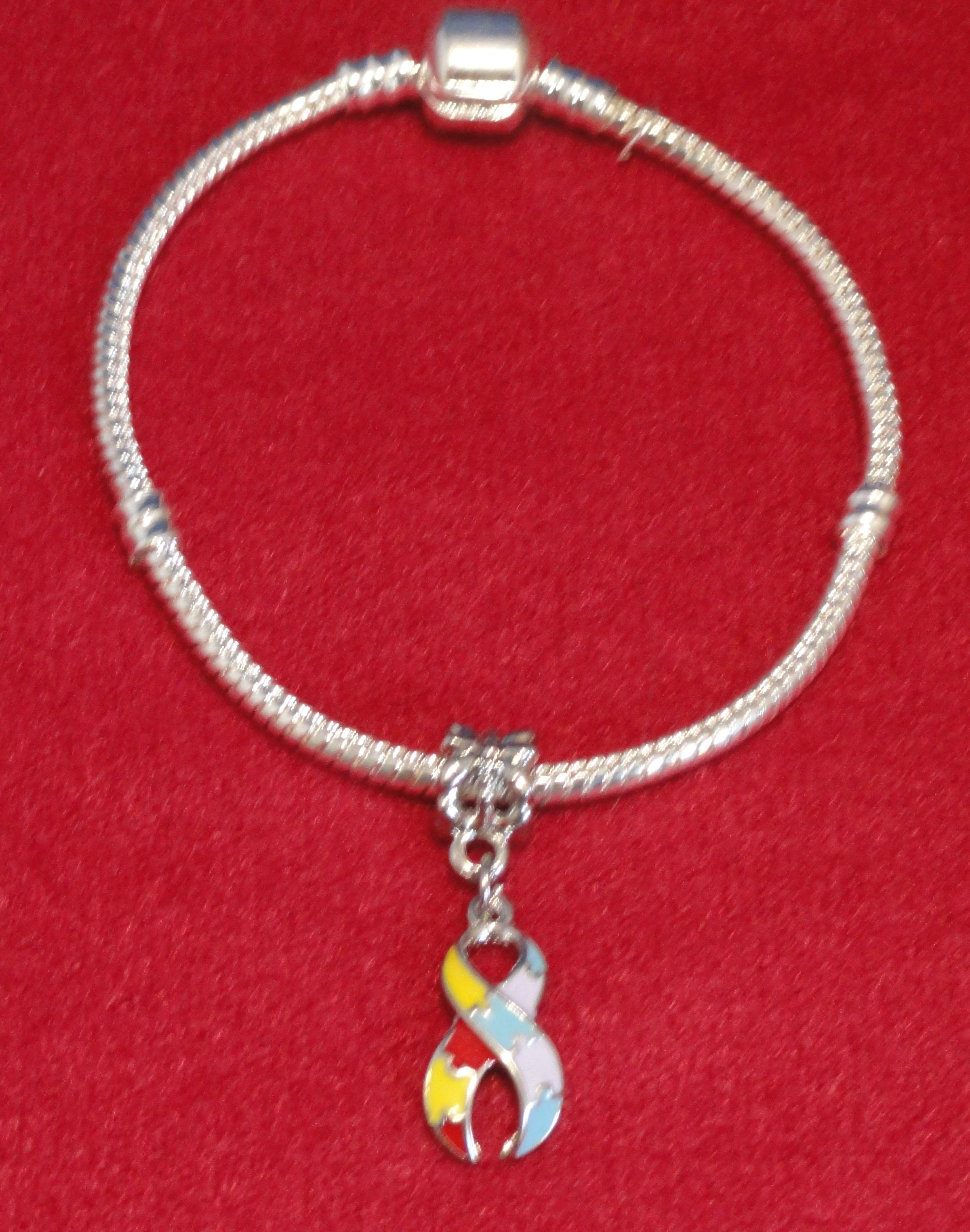 Pandora Style Silver Snake Chain Bracelet With Autism Charm 7 Only 1 Available 9 00