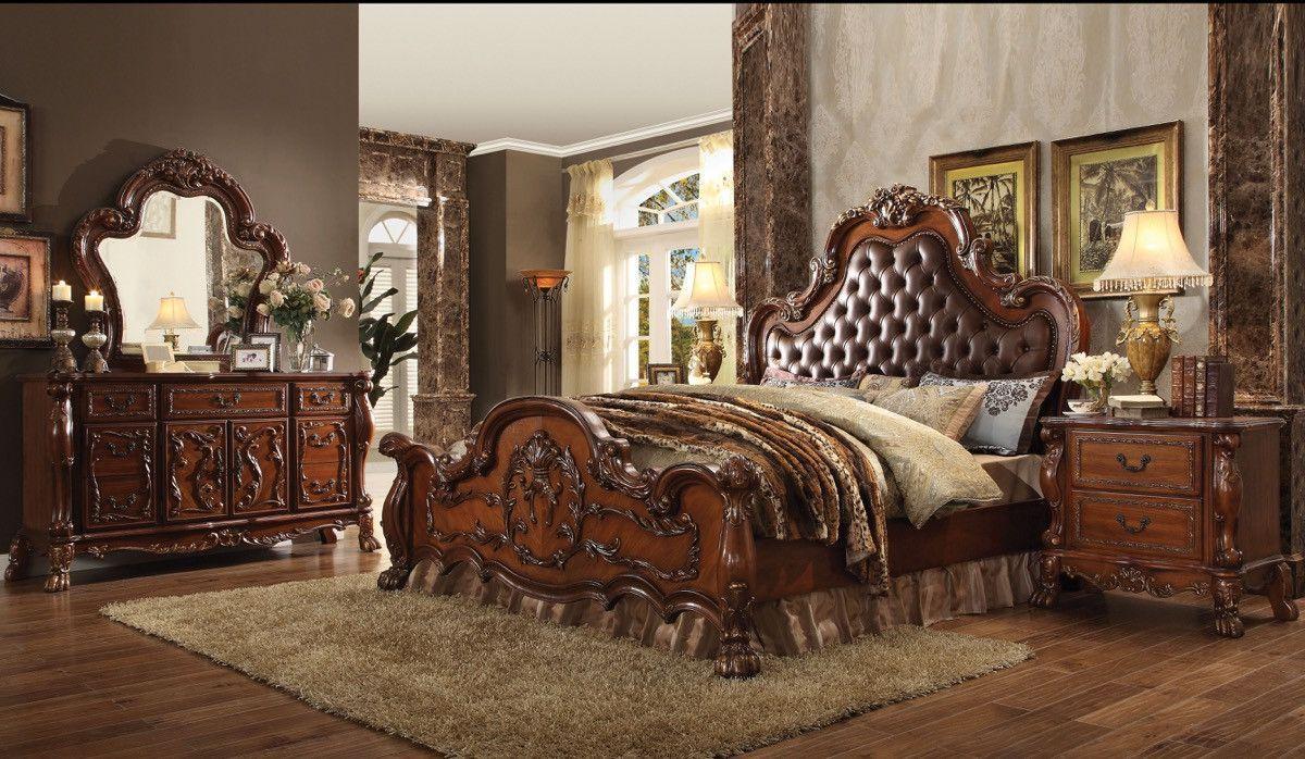 Acme dresden california king bed pu u cherry oak ck