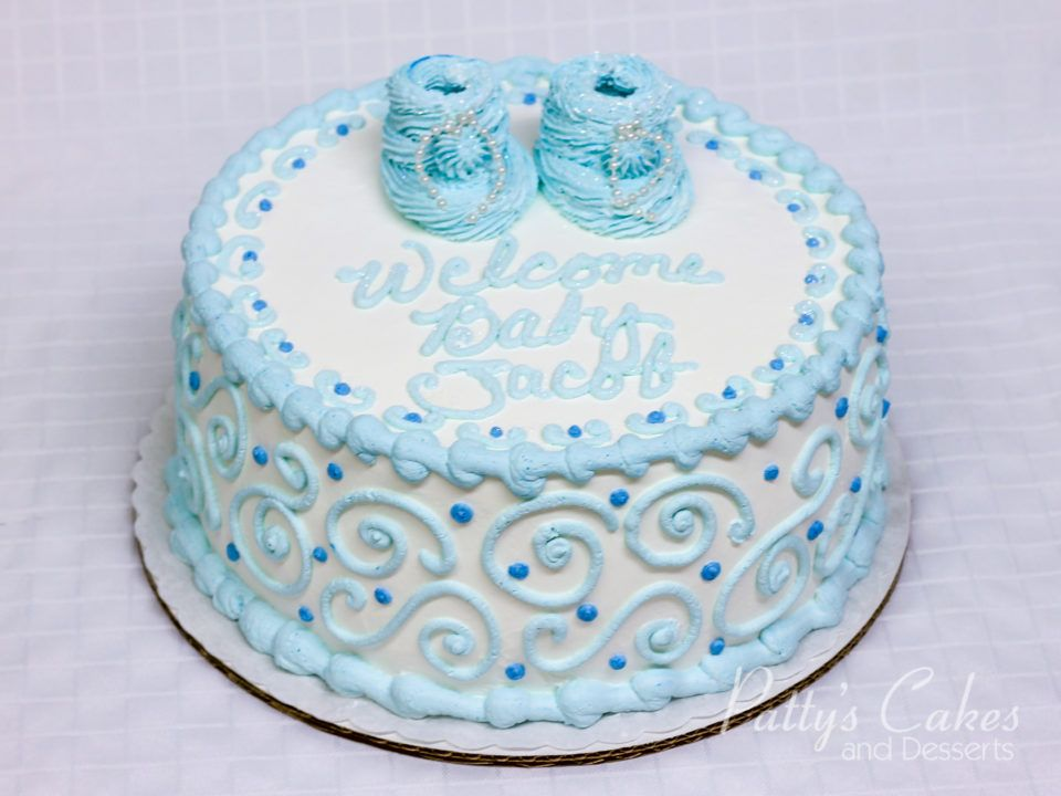 Photo Of A Baby Shower Cake Blue Boy Round Patty S Cakes And Desserts Rustic Baby Shower Cake Blue Baby Shower Cake Cake Designs For Boy
