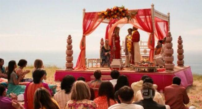 Newport Beach California Indian Wedding By Braja Mandala: 90210-mandap-indian-weddings-san-diego-planner-red-florals
