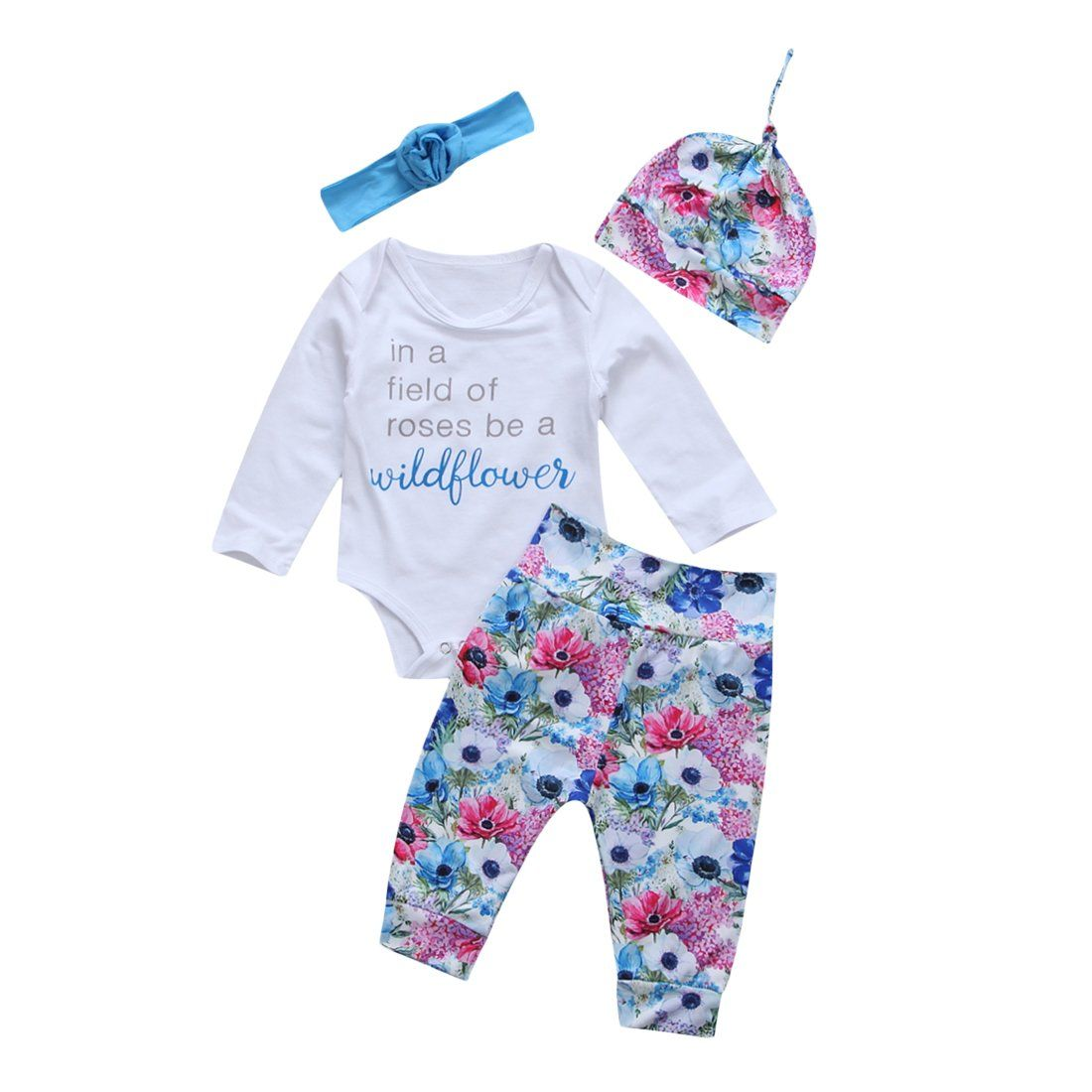 4PCS Newborn Baby Girl Kid Tops Romper Floral Pants Headband Outfits Set Clothes