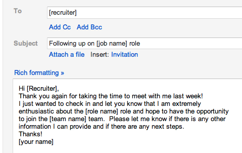 interview follow up email google search