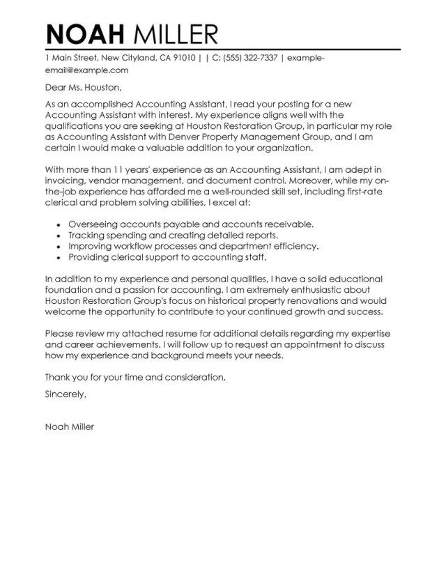 25+ Accounting Cover Letter | Cover Letter Examples For Job | Sample ...
