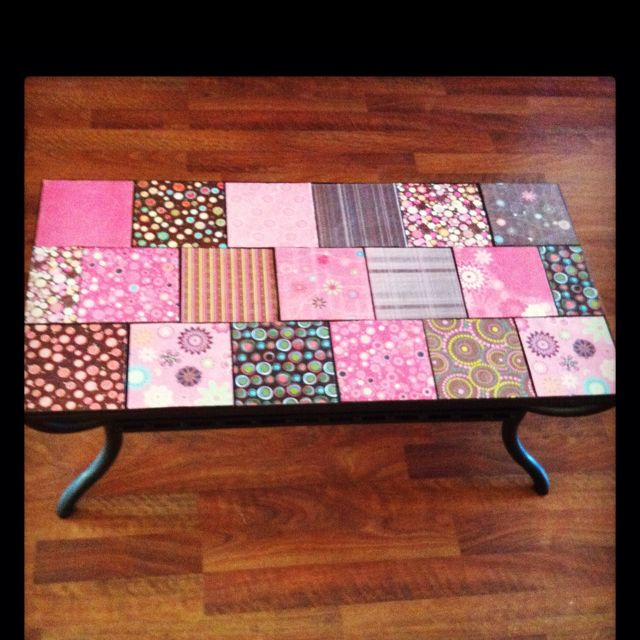 Coffee table makeover using scrapbook paper and mod podge I like