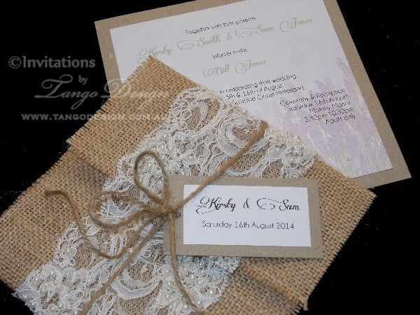 Wedding Invitations Lace And Pearl: Invitation With Lace And Pearls And Wrapped By Burlap Or