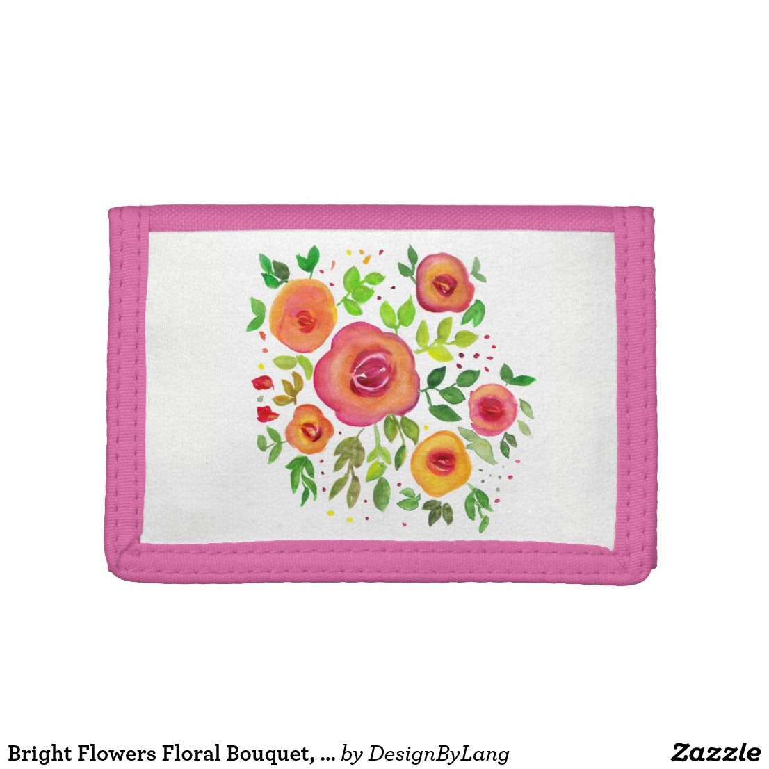 Bright Flowers Floral Bouquet Watercolor Painting Tri Fold Wallet