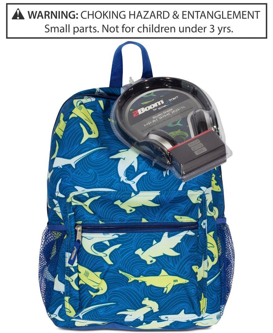 a21b631d92 Fab Shark-Print Backpack   Headphones