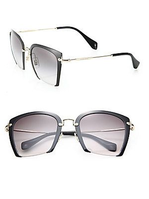 a66a13550f07 Miu Miu 52MM Semi-Rimless Acetate   Metal Square Sunglasses