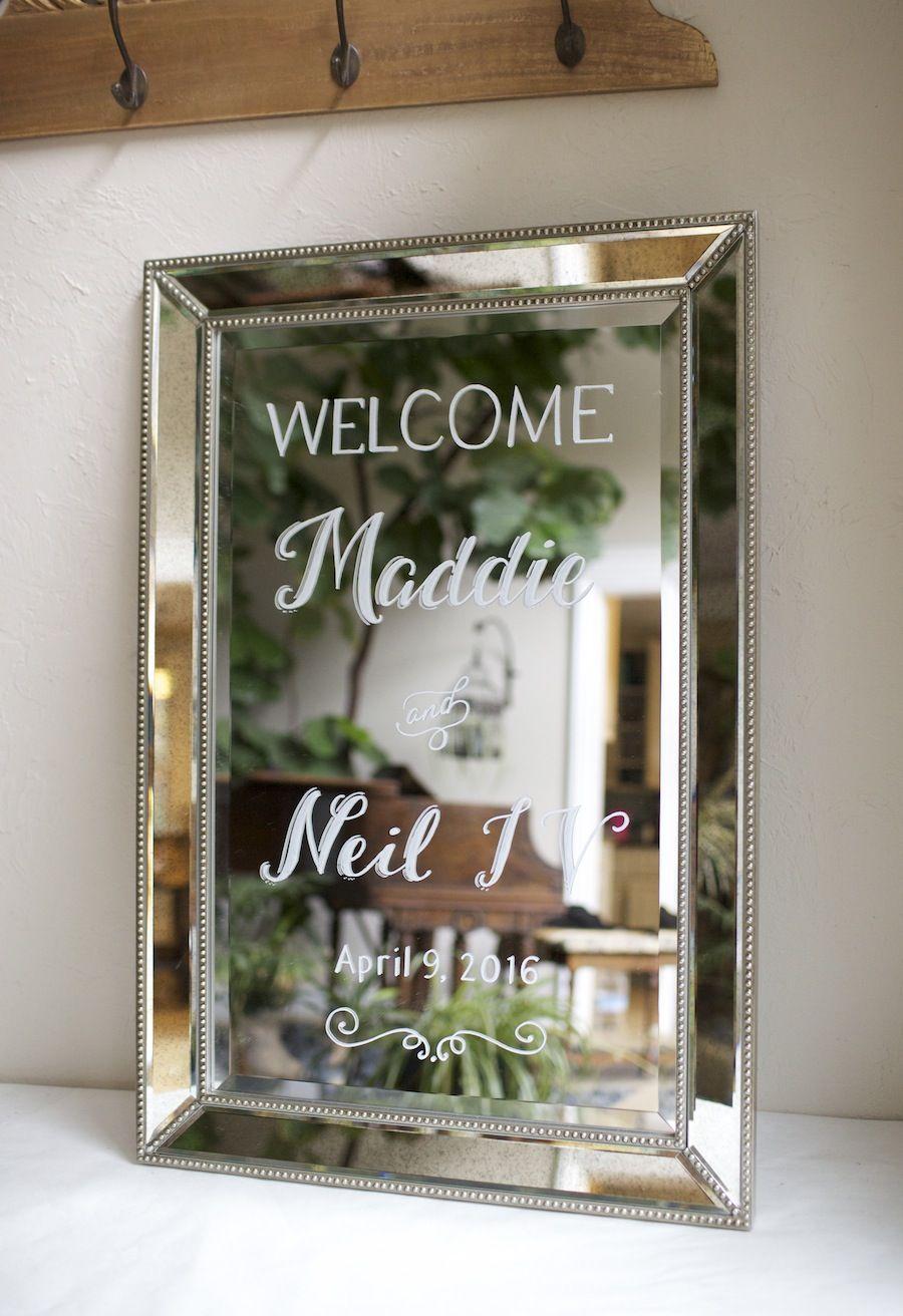 Elegant Mirror Framed Mirror Custom Painted As A Wedding