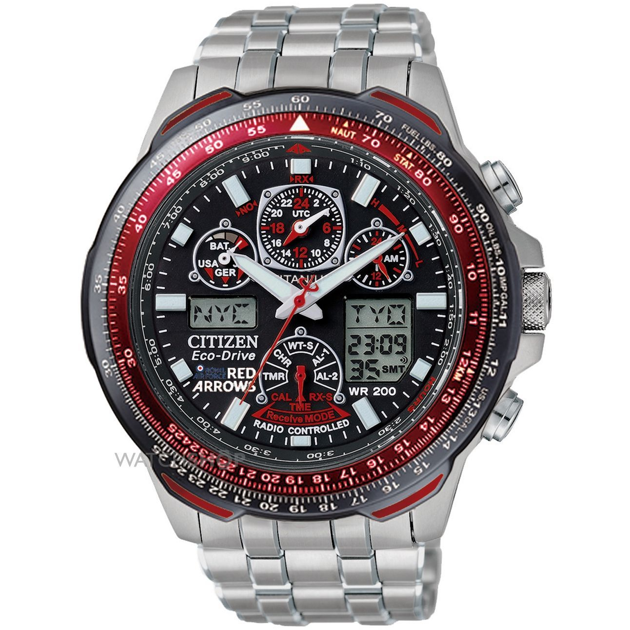 Citizen Men's Skyhawk A-T Red Arrows Titanium Alarm Chronograph Radio Controlled Eco-Drive Watch