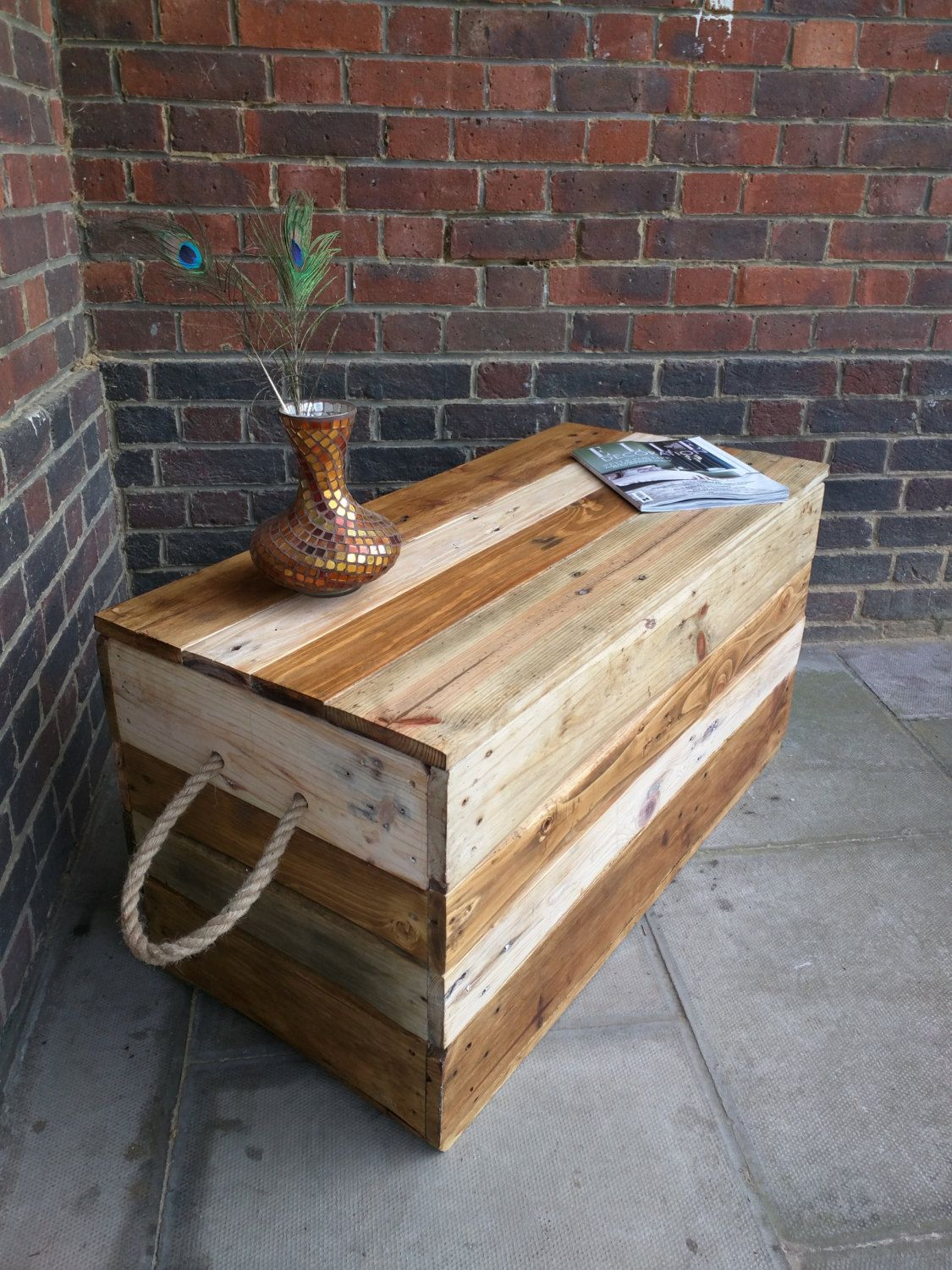 Rustic Striped Storage Chest Trunk Coffee Table With Rope Handles Handmade  From Reclaimed Wood By TimberWolfFurniture