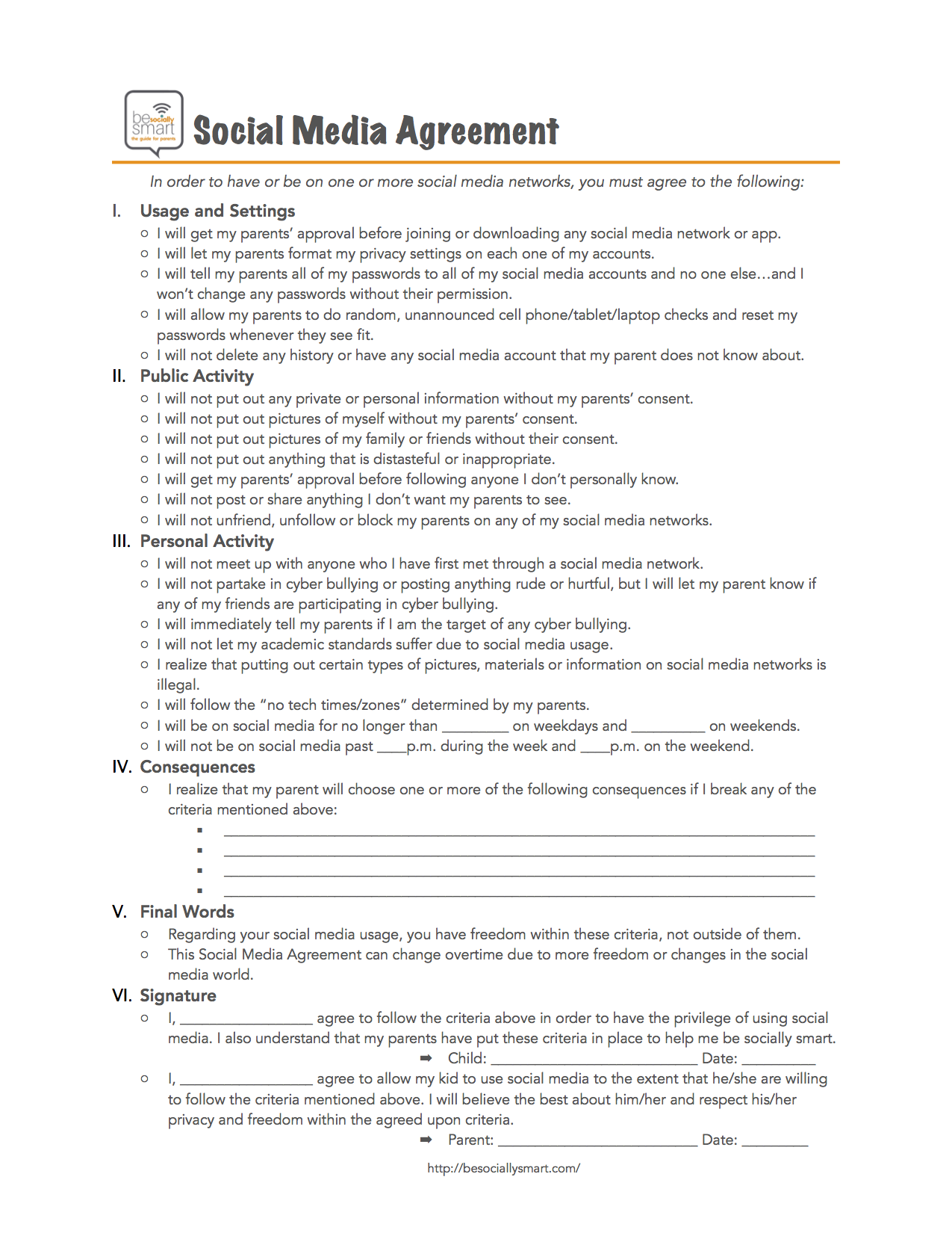 Social Media Parent Child Contract Agreement