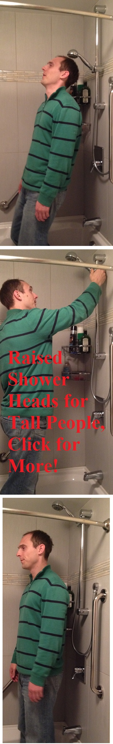 Raised Shower Heads For Tall People. An Adaptation For A Top Tall People  Problem