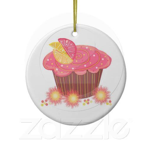 Sweet Pink Grapefruit Cupcake  Ornaments