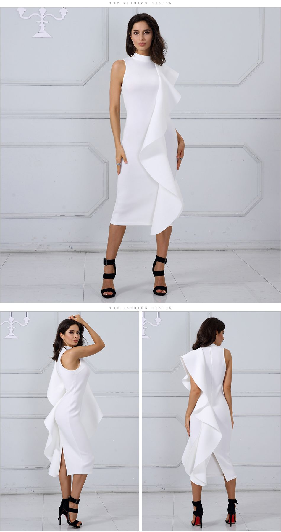 Adyce 2018 New Style Winter Dress Women Sexy White Sleeveless Patchwork Ruffles Bodycon Vestidos Celebrity Party Dress Clubwear is part of Party Clothes Casual - design drawing, etc   Welcome your trial order to check our quality  We're always looking forward to providing you the best purchasing experience and developing winwin, longterm and friendly relations of cooperation with you   Thank you very much !