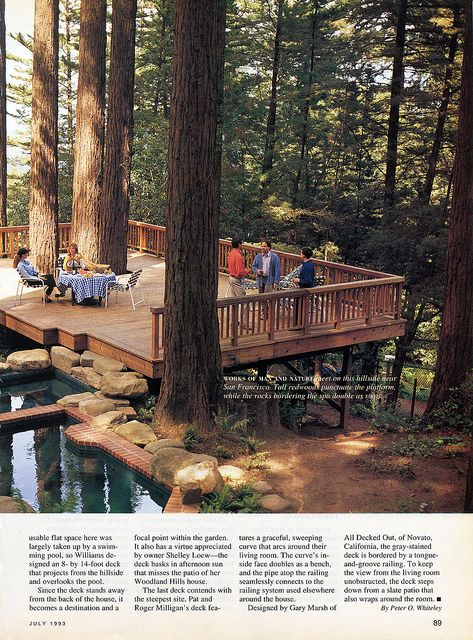 Hillside decks b sunset 1993 07 decking cabin and porch for Timber decking seconds