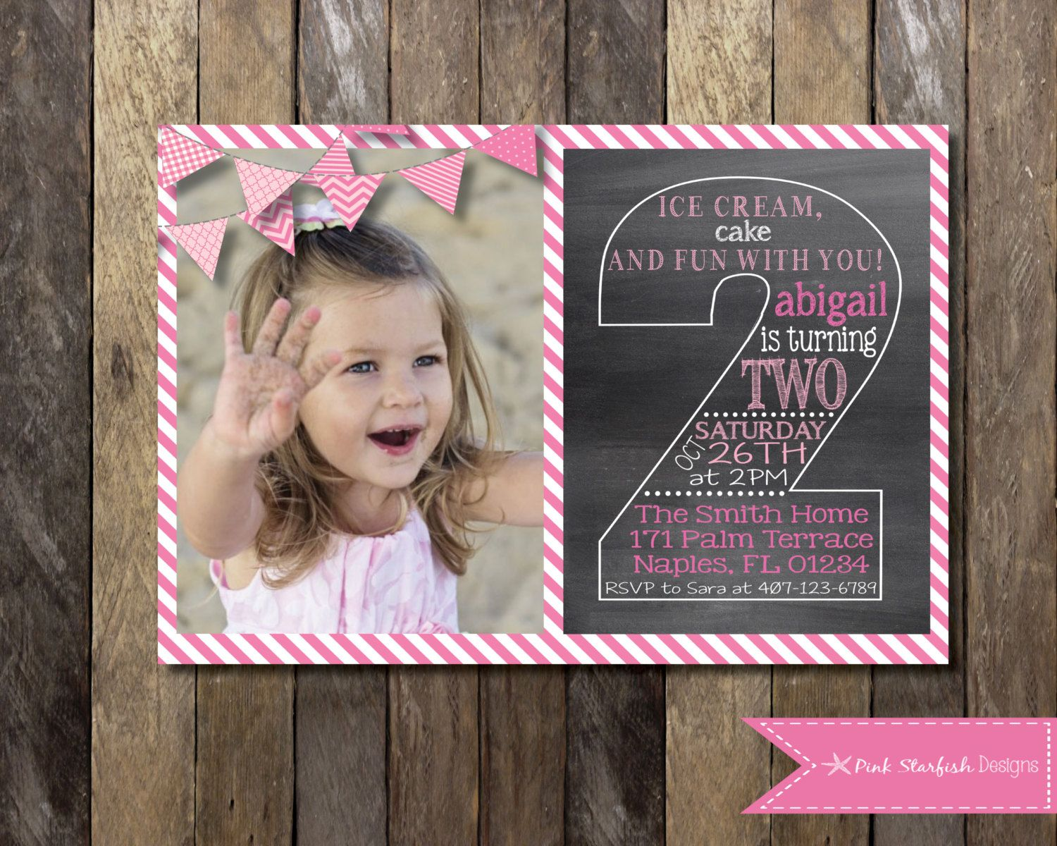 PRINTABLE Chalkboard Second Birthday by PinkStarfishDesigns – 2 Year Old Birthday Invites