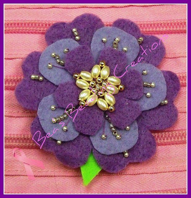 Purple felt brooch by Bea's Beading Creations, via Flickr