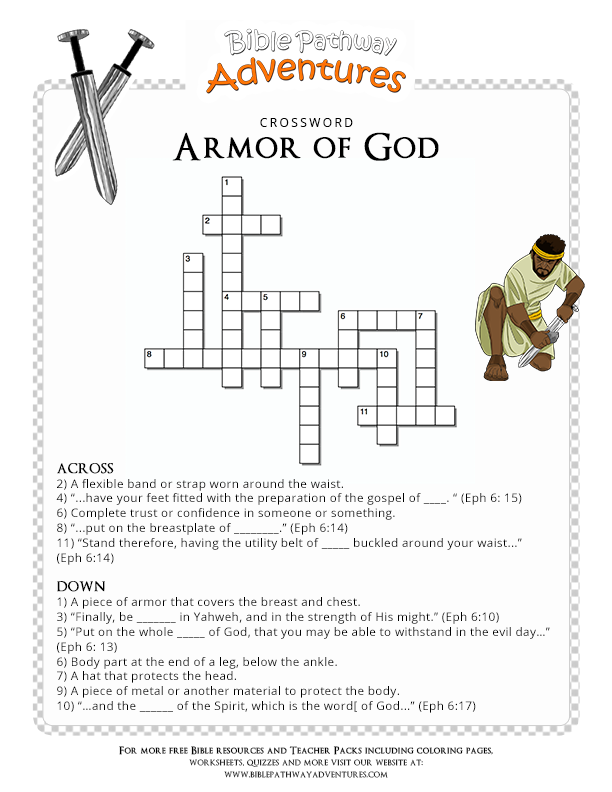 Bible Crossword Puzzle Armor Of God Manualidades Armor Of God