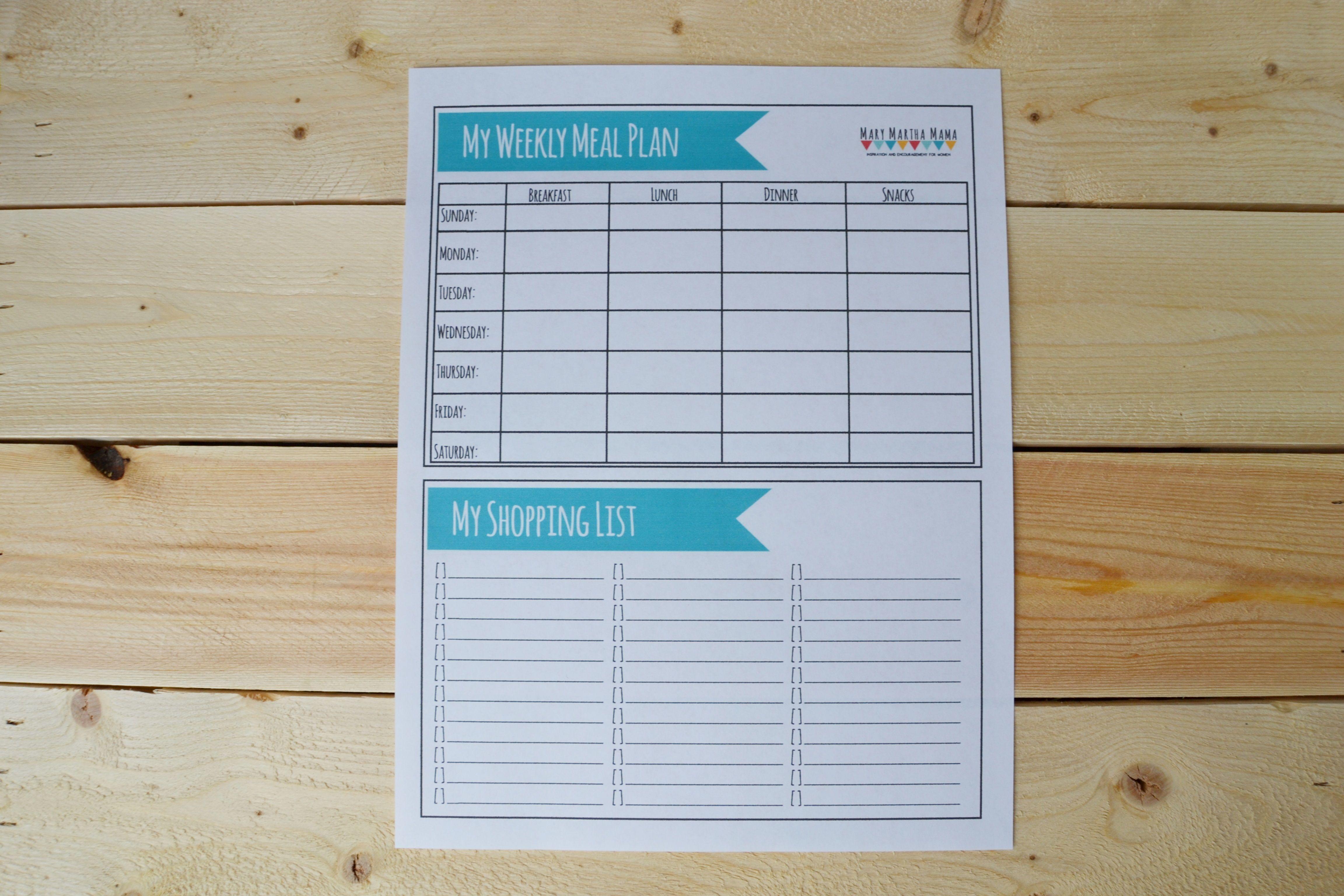 Printable Meal Plan Worksheet