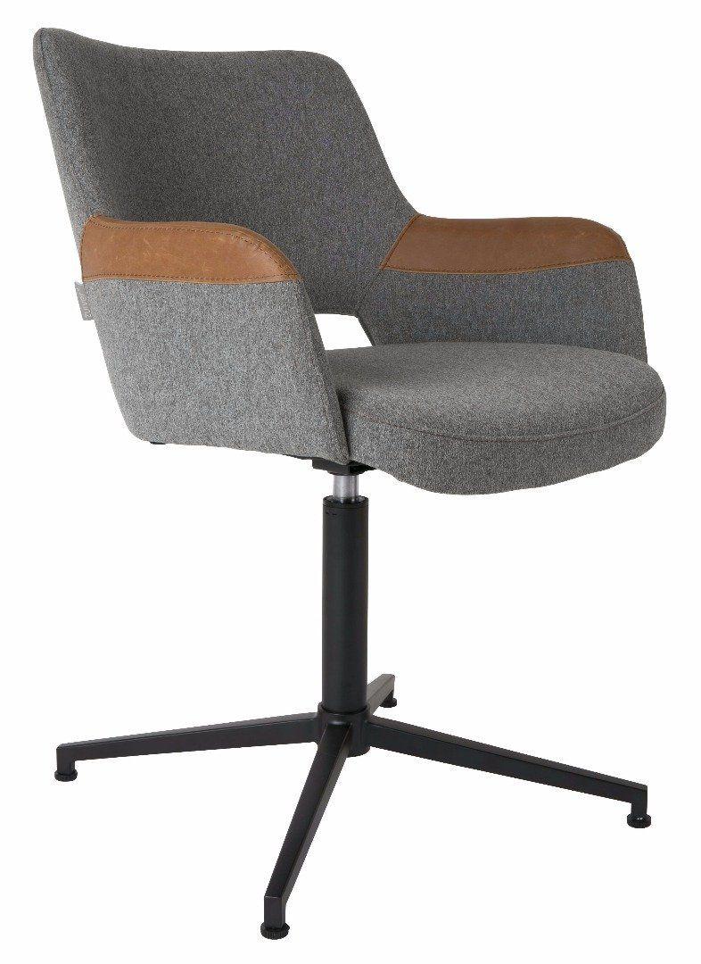 Chaise de bureau zuiver syl en tissu gris avec accoudoirs - Chaise de bureau avec accoudoir ...