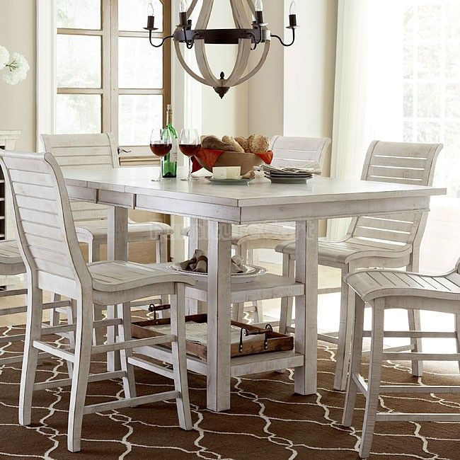 Willow Rectangular Counter Height Table Distressed White Counter Height Dining Table Counter Height Table Progressive Furniture