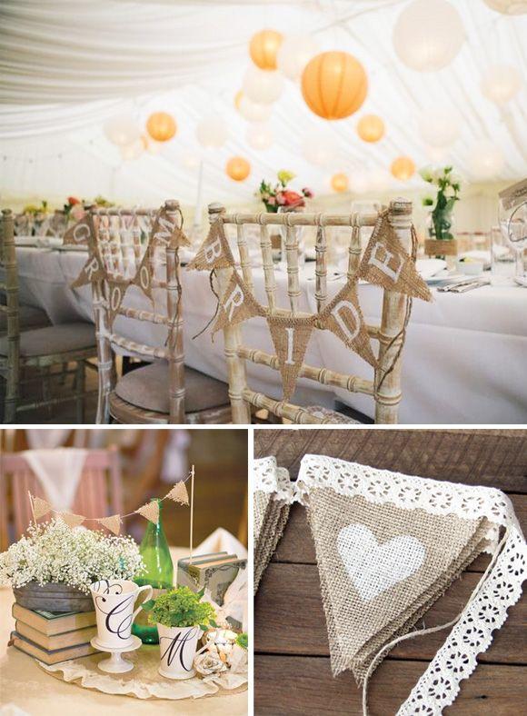 Decoraci n de boda con banderines de yute 2 sillas novios for Sillas decoracion